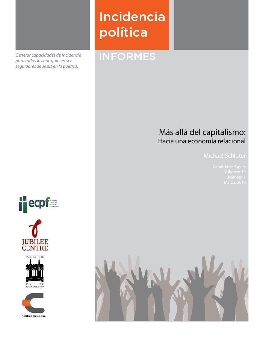 Más allá del capitalismo: Hacia una economía relacional