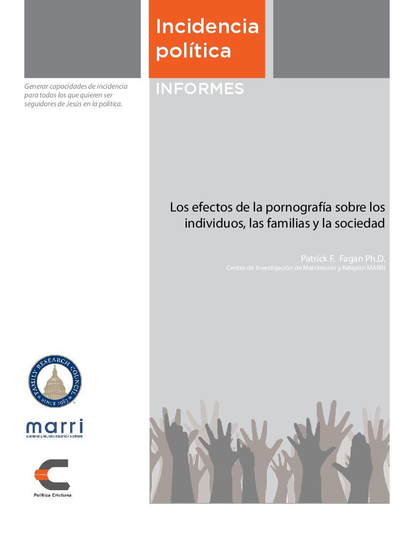 Los efectos de la pornografía sobre los individuos, las familias y la sociedad